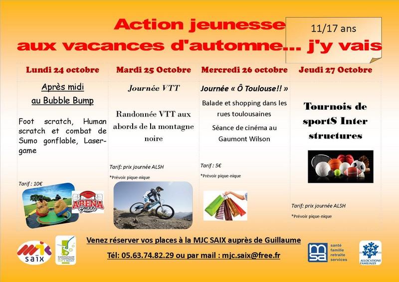 Actions jeunesse aux vacances d 39 automne 2016 mjc de sa x - Job vacances toussaint ...